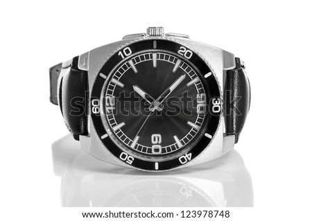 black watch with black leather strap on a white background - stock photo