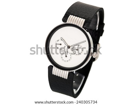 black watch with the white dial, with a rubber thong on a white background.