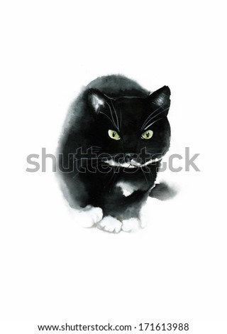 Black watercolor cat looks  - stock photo