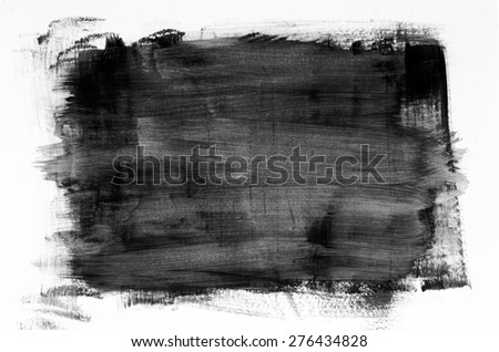 black watercolor painting texture on white background - stock photo