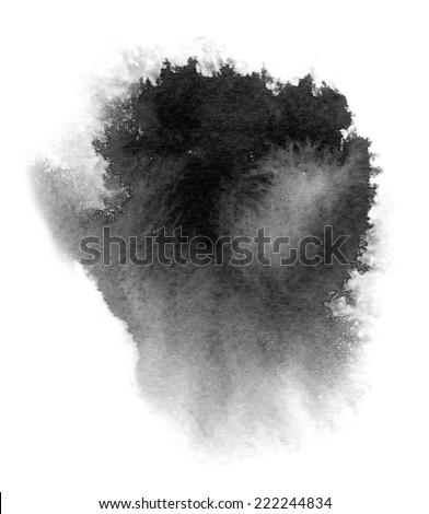 Black watercolor stain with watercolor paint blotch and brush stroke - stock photo