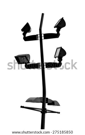 Black Way Spot LED Flood Lights on White Background with Clipping Patch - stock photo
