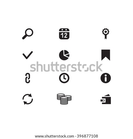 Black Website Icons on isolated background. SEO Icons. Set web icons include: Search, purse, link, arrow, calendar, chain, bookmark; clock, check mark, money, flag - stock photo