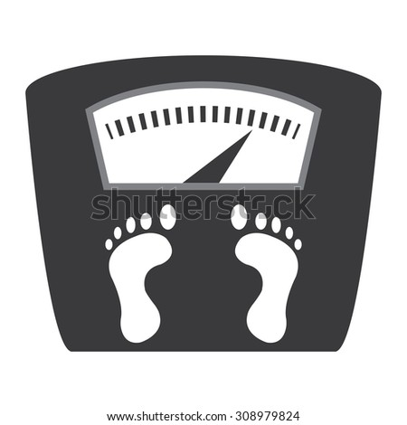 Black Weight Scale Infographics Flat Icon, Sign Isolated on White Background - stock photo