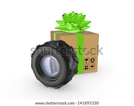 Black wheel and carton box.Isolated on white.3d rendered. - stock photo