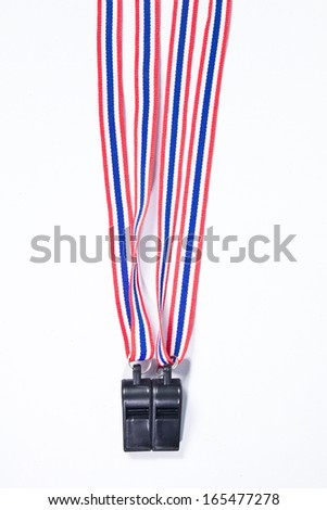 black whistles with Thailand national flag lanyard on white background - stock photo