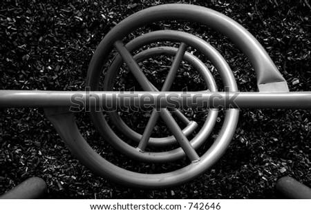 Black & White abstract of playground equipment - stock photo