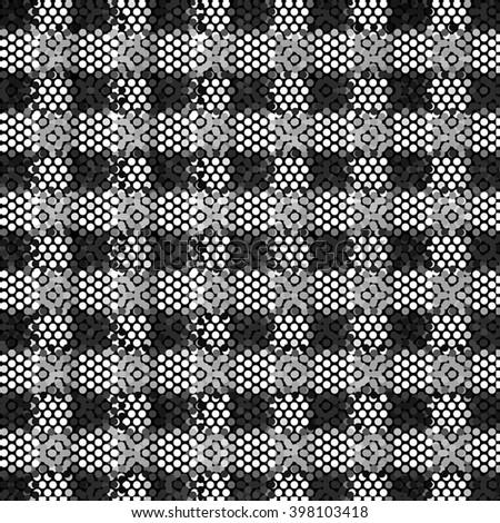 Black white and gray checkered floor with polka dot tiles - Background illustration. Abstract light square polka dot background pattern. Spotted line illustration