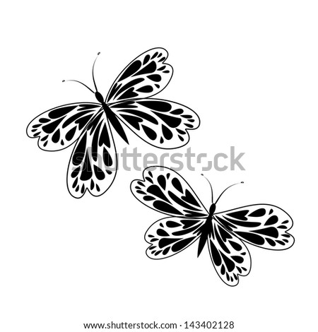 black white butterflies with wings from hearts. Raster - stock photo