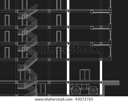 Black&White CAD Architectural Five story building section drawing