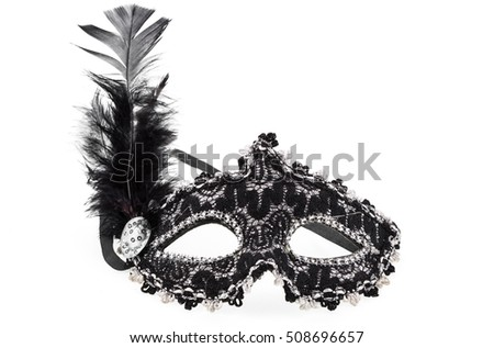 black white female theatrical mask with feather