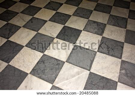 Black & white floor - stock photo