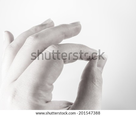 black white gray sensitive feeling hand conducting - stock photo
