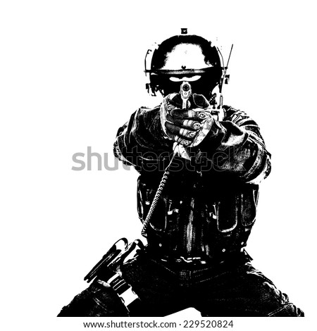 Black white image of spec ops soldier in face mask aiming his pistol - stock photo