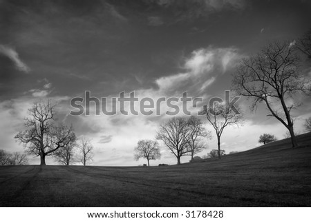black & white landscape with dramatic clouds