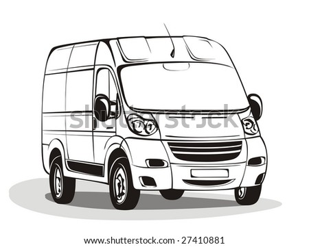 Black&white linear vector Mini Bus illustration.