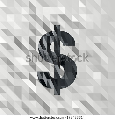black white low poly Dollar illustration with 3d triangle background  - stock photo