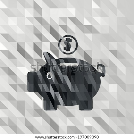black white low poly save symbol with creative triangle background  - stock photo