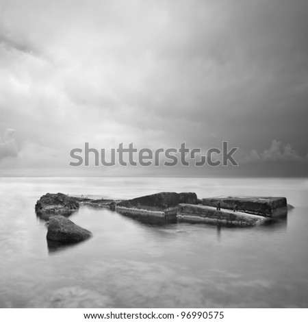 Black & White minimalist seascape with rocks. Black sea. Ukraine. Crimea. - stock photo