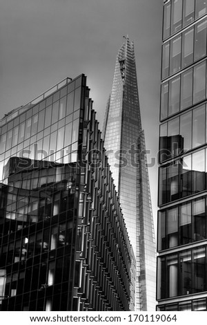 Black & white Modern buildings of London - stock photo
