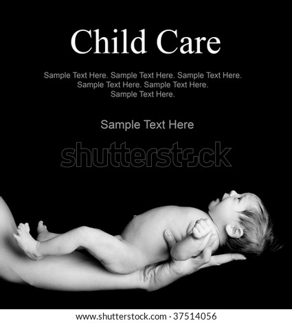 black & white photo of newborn baby being held with Text Space