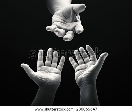 Black & white praying hands. Muslim Mercy Medical Repentance Glorify Redeemer Fast EID Dua Maundy Thursday Lent Good Friday Easter Sunday Holy Week Holy Bible Lent God Family Labor Labour Boy concept.