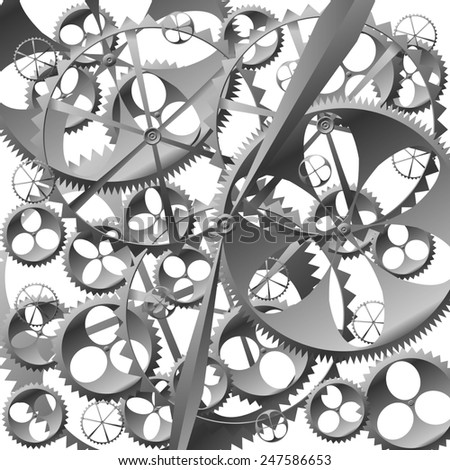 black white technology background with clock work with cogwheels raster