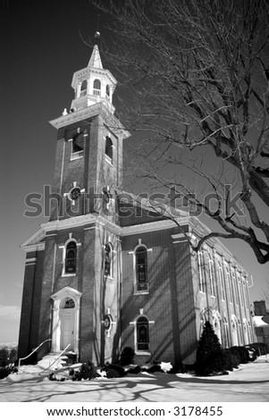 black & white 19th century Church - stock photo