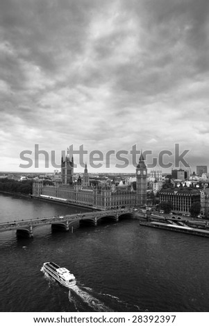 Black & White view of Big Ben and the Houses of Parliament over the Thames - London - stock photo