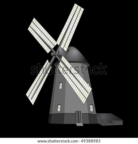 Black&white windmill - stock photo