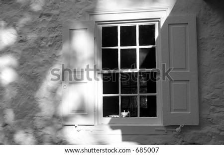 Black & White Window with shutters
