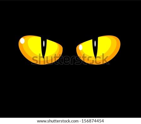 Black wild cat with yellow eyes - illustration - stock photo