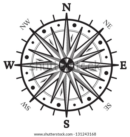 Black wind rose compass isolated on white - stock photo