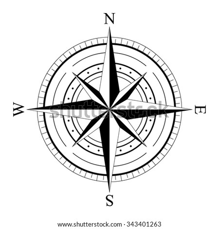 Black Wind Rose Compass Isolated On White Icon Graphic Nautical Design Elements