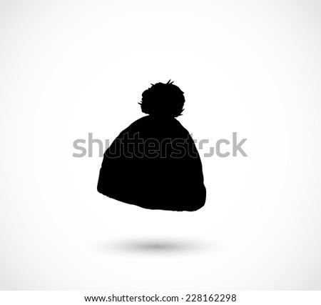 Black winter hat icon - stock photo