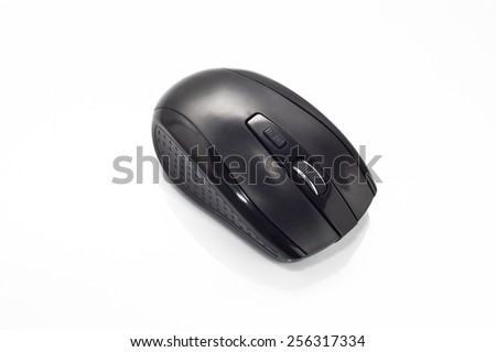 Black,  wireless computer mouse on white background