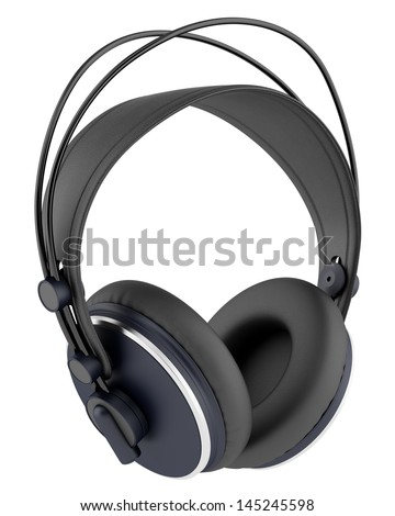 black wireless headphones isolated on white background