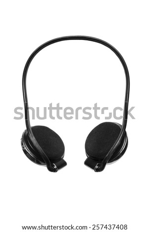 Black wireless headset on white background - stock photo