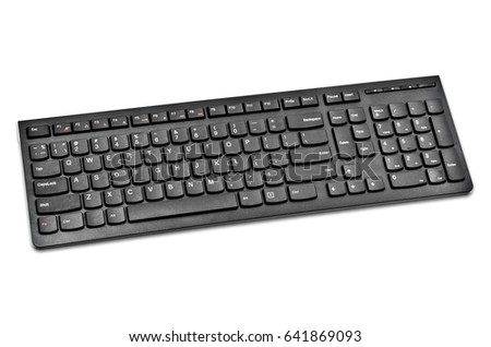 Black wireless keyboard computer isolated on white background, Save clipping path.