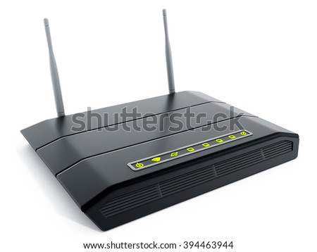 Black wireless modem isolated on white background - stock photo