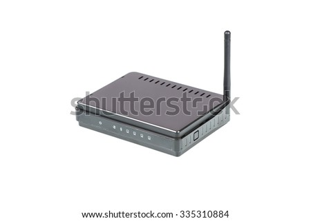 Black Wireless Router isolated on white background