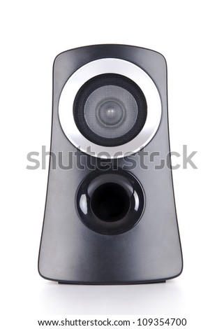 Black with silver sound speaker on white background. - stock photo