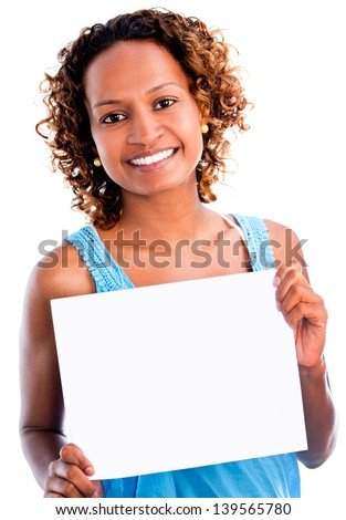 Black woman holding a banner - isolated over a white background - stock photo