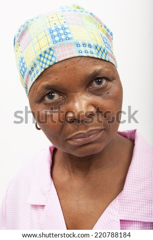 Black woman looking man - stock photo
