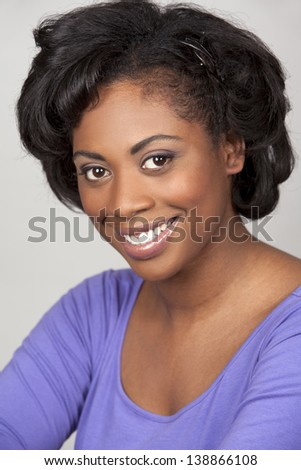 black woman portrait on grey background