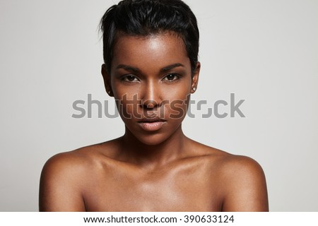 black woman's portrait closeup - stock photo