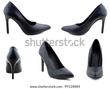 Black woman shoe arranged on white background - stock photo