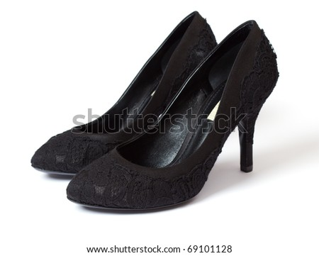 black woman shoe isolated on white - stock photo