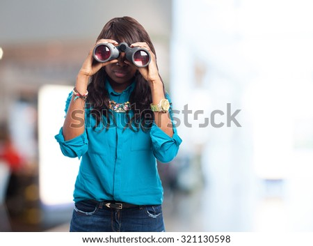 black woman with binoculars
