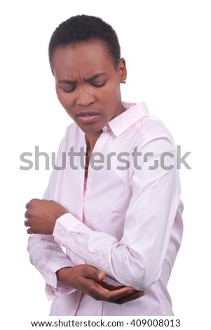 Black woman with pain in the elbow isolated